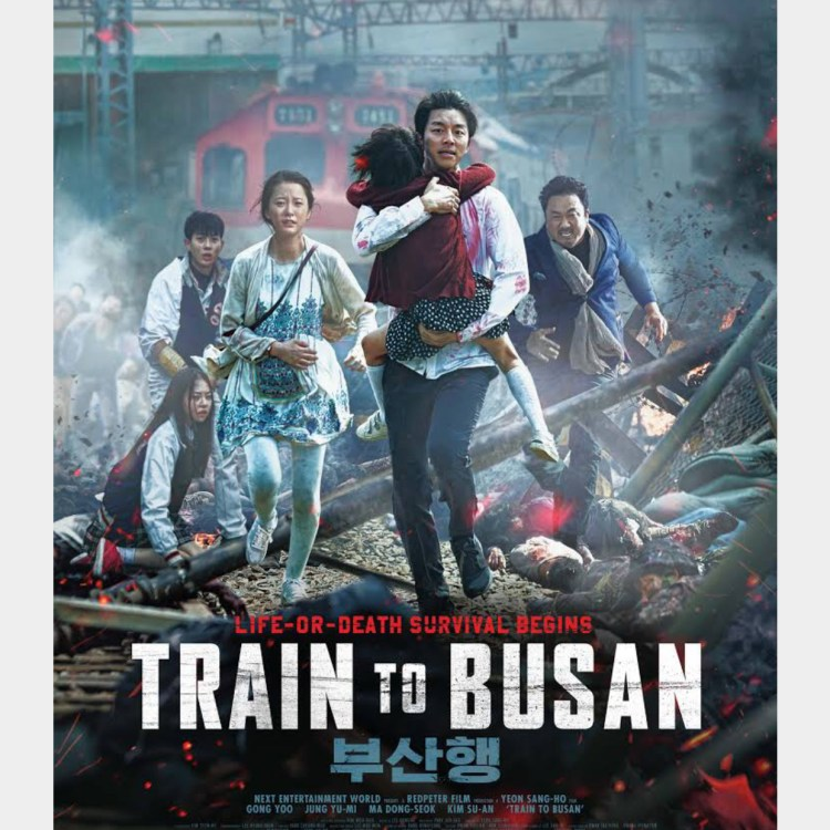 Movie poster depicting a group of passengers from Train to Busan after clearly having lived through a disaster