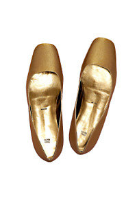 gold lame shoes