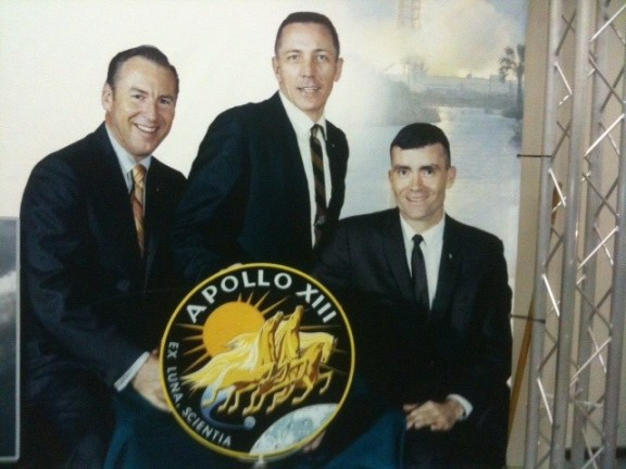 Flight crew from the Apollo 13. From left to right: James A. Lovell, Jr., John L. Swigert, Jr., Fred W. Haise, Jr.