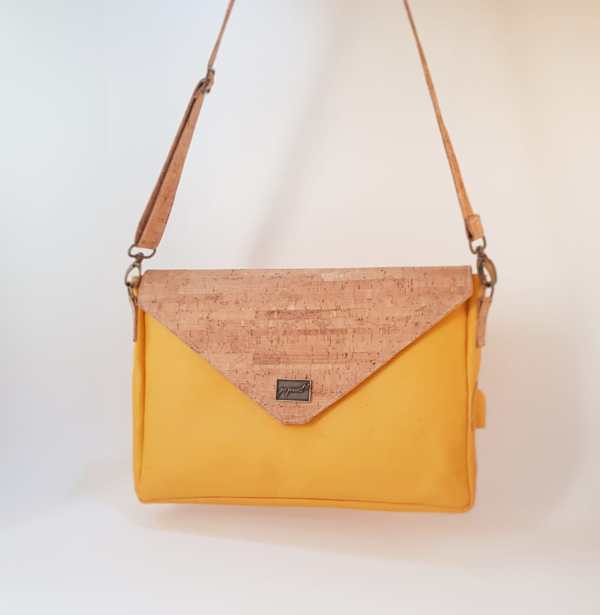 Mrs Secretary | Leather and Cork Laptop Sleeve Front