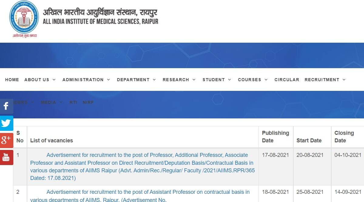 AIIMS Recruitment 2021: Apply online for Assistant Professor posts at aiimsraipur.edu.in before 14 September.  Check here for details