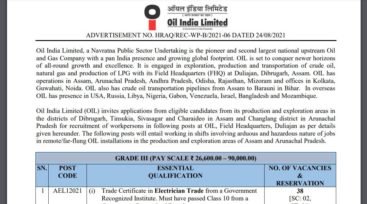 Oil India Limited Recruitment 2021: Notification out for Grade -III Posts at oil-india.com.  Apply online with these steps before 23 September