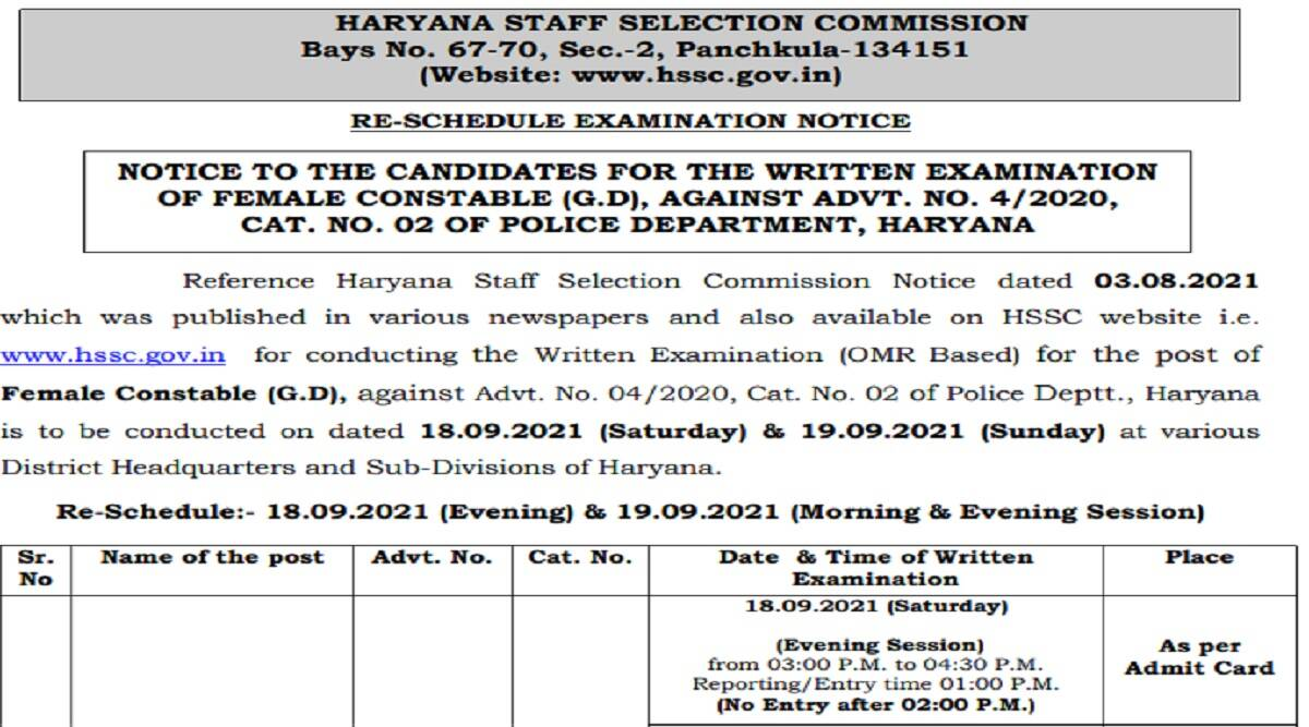 Constable Admit Card 2021: Haryana Police Female Constable Admit Card 2021 at hssc.gov.in