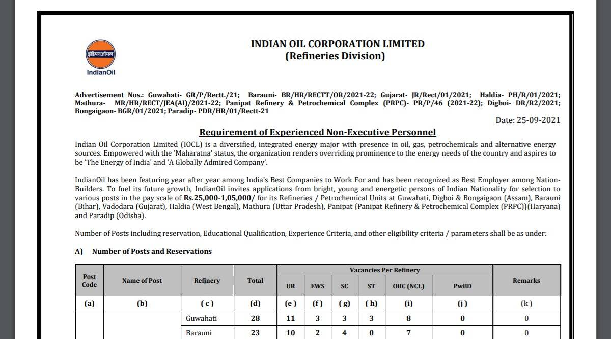 IOCL Recruitment 2021: Apply online for Non Executive Posts at iocl.com before 12 October.  Check here for details