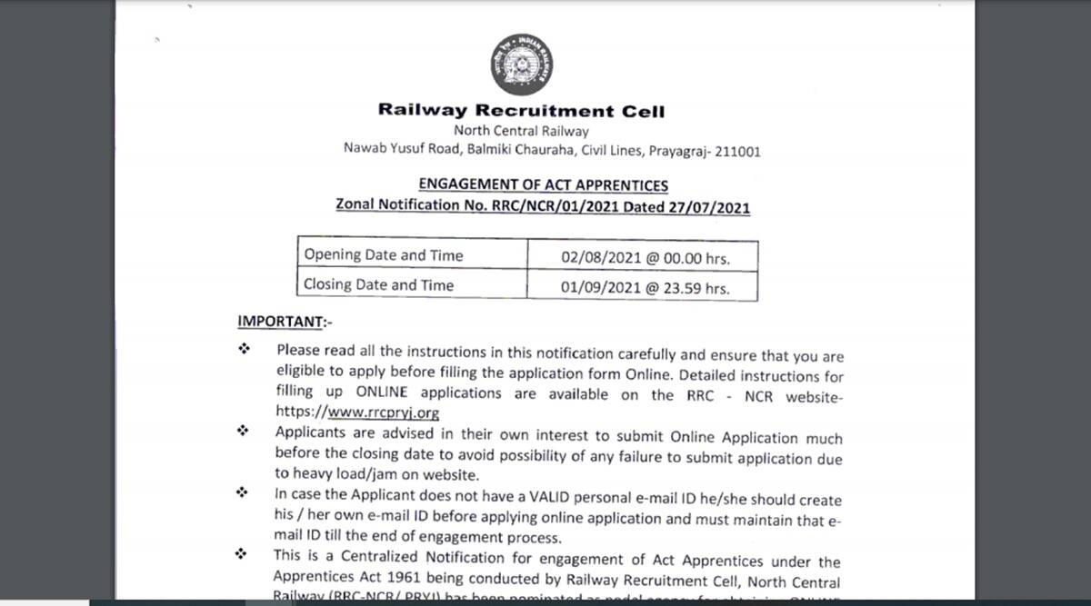 Apply for recruitment in railways, no exam, no application fee, age limit 15 years