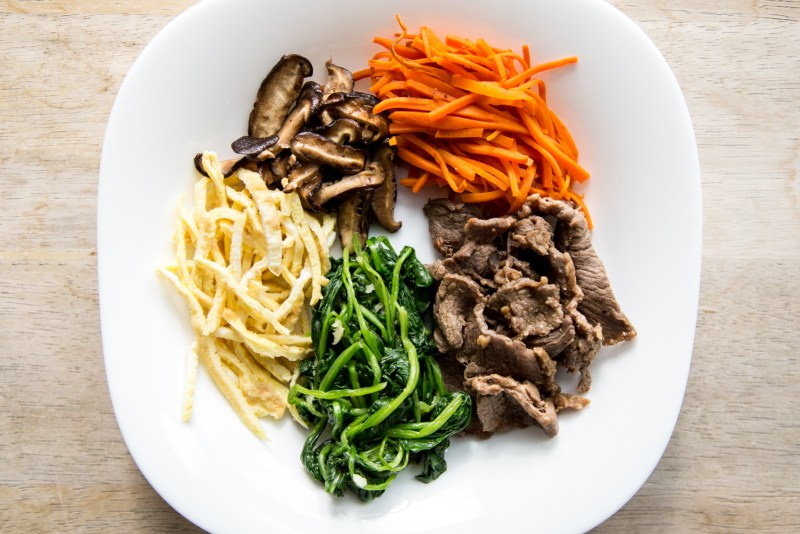 Korean bibimbap bento lunch box recipe - Ingredients