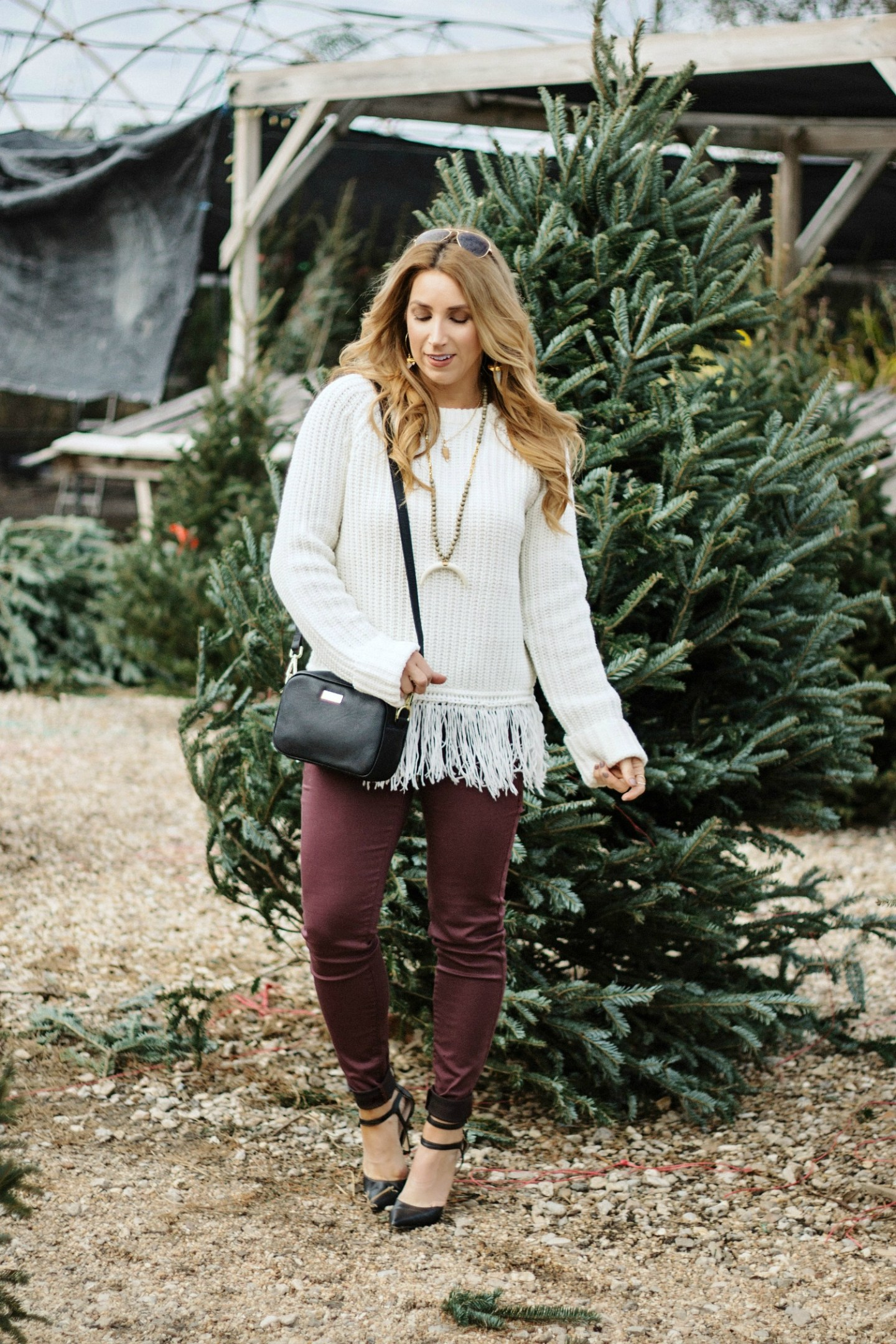 Fringe Sweater + Burgundy Denim for the Holidays