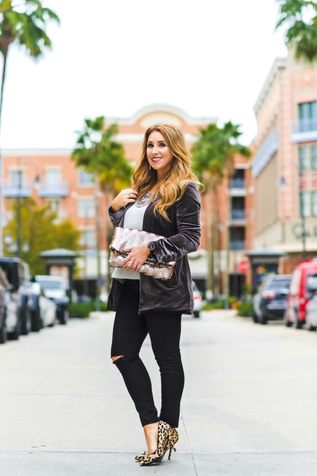 Velvet Blazer + Leopard | January Hart Blog