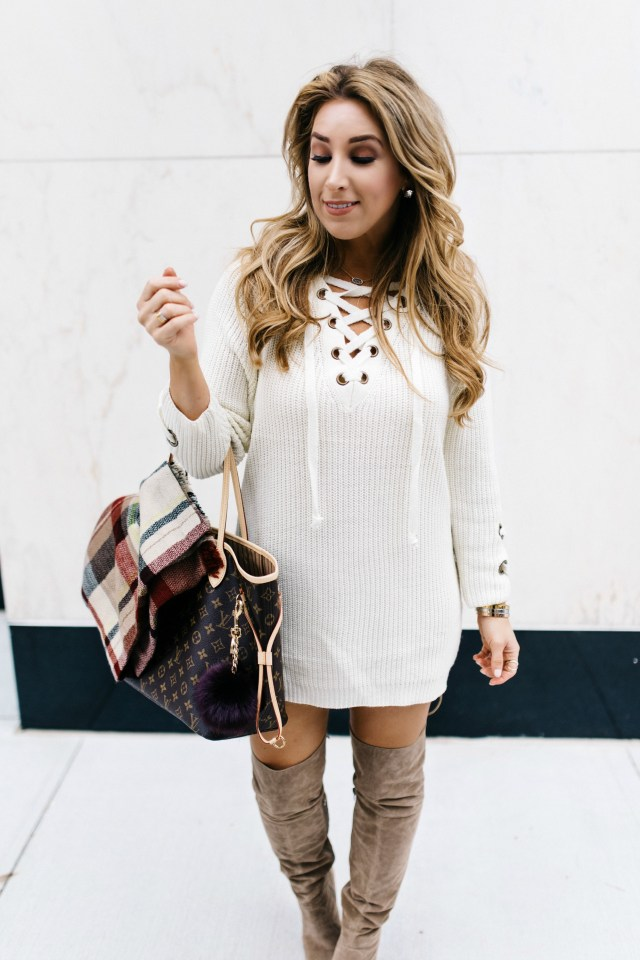 Lace Up Chunky Sweater | January Hart Blog