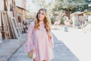 blush lace dress short