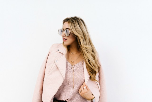 Blush leather jacket