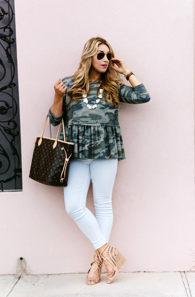 camo peplum top