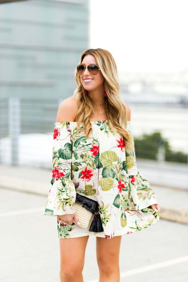 off the shoulder tropical