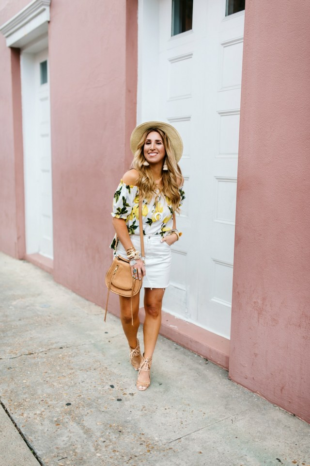 Lemon print off the shoulder top