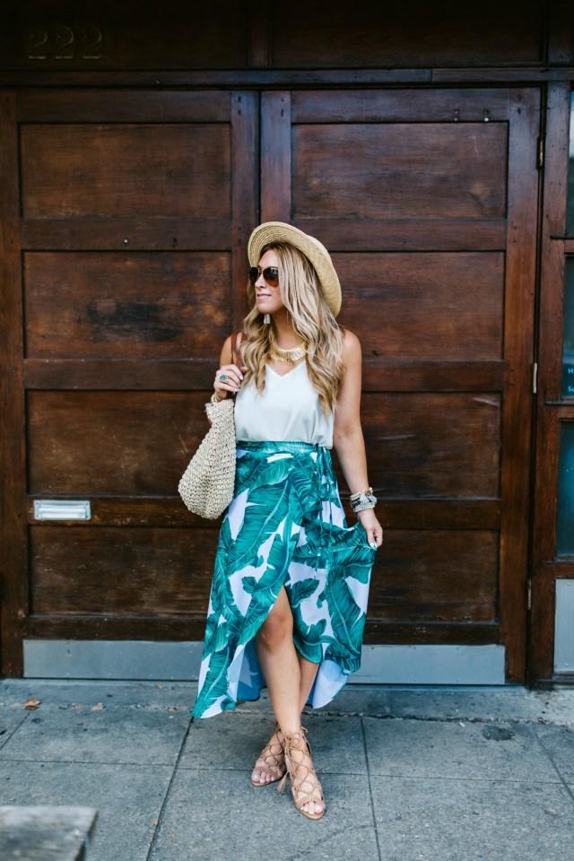 Palm Print Maxi Wrap Skirt