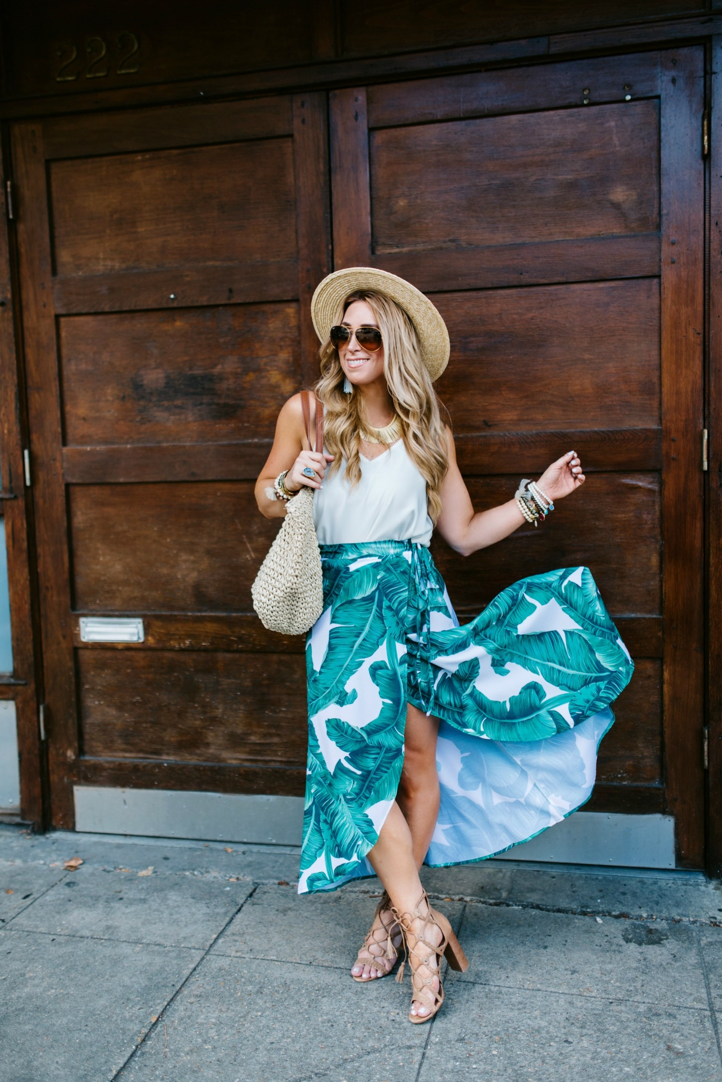 Palm Printed Maxi Skirt and the Dog Days of Summer