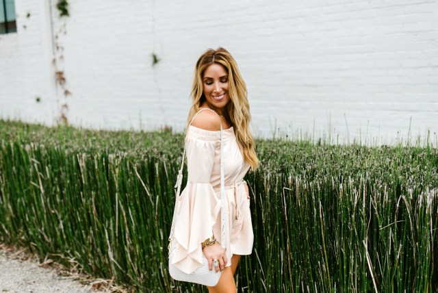 off the shoulder romper long sleeve
