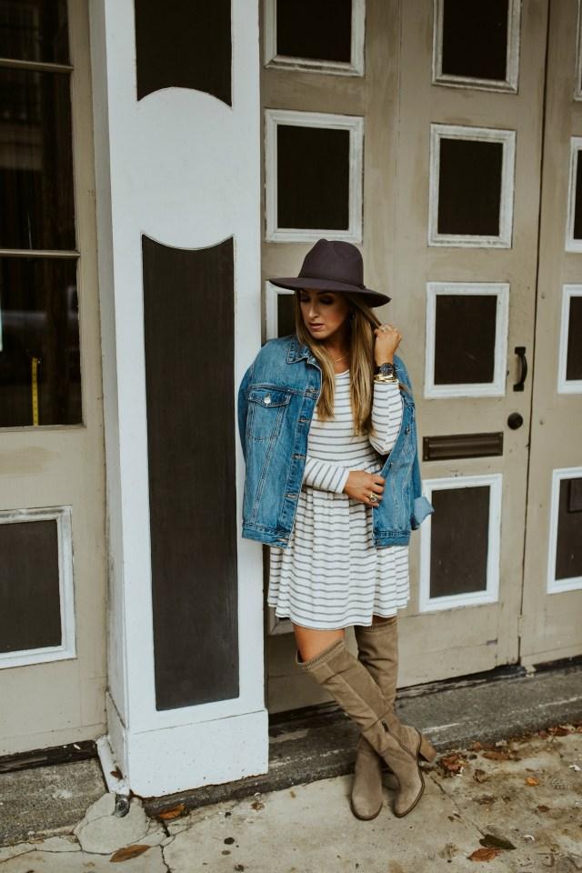 long sleeve stripe knit dress