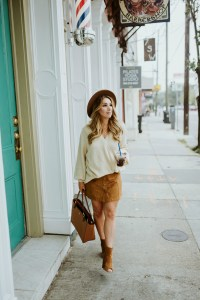 button up suede skirt