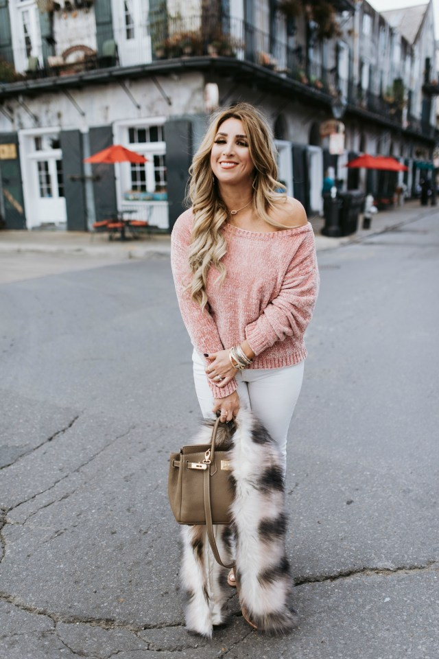 blush faux fur scarf