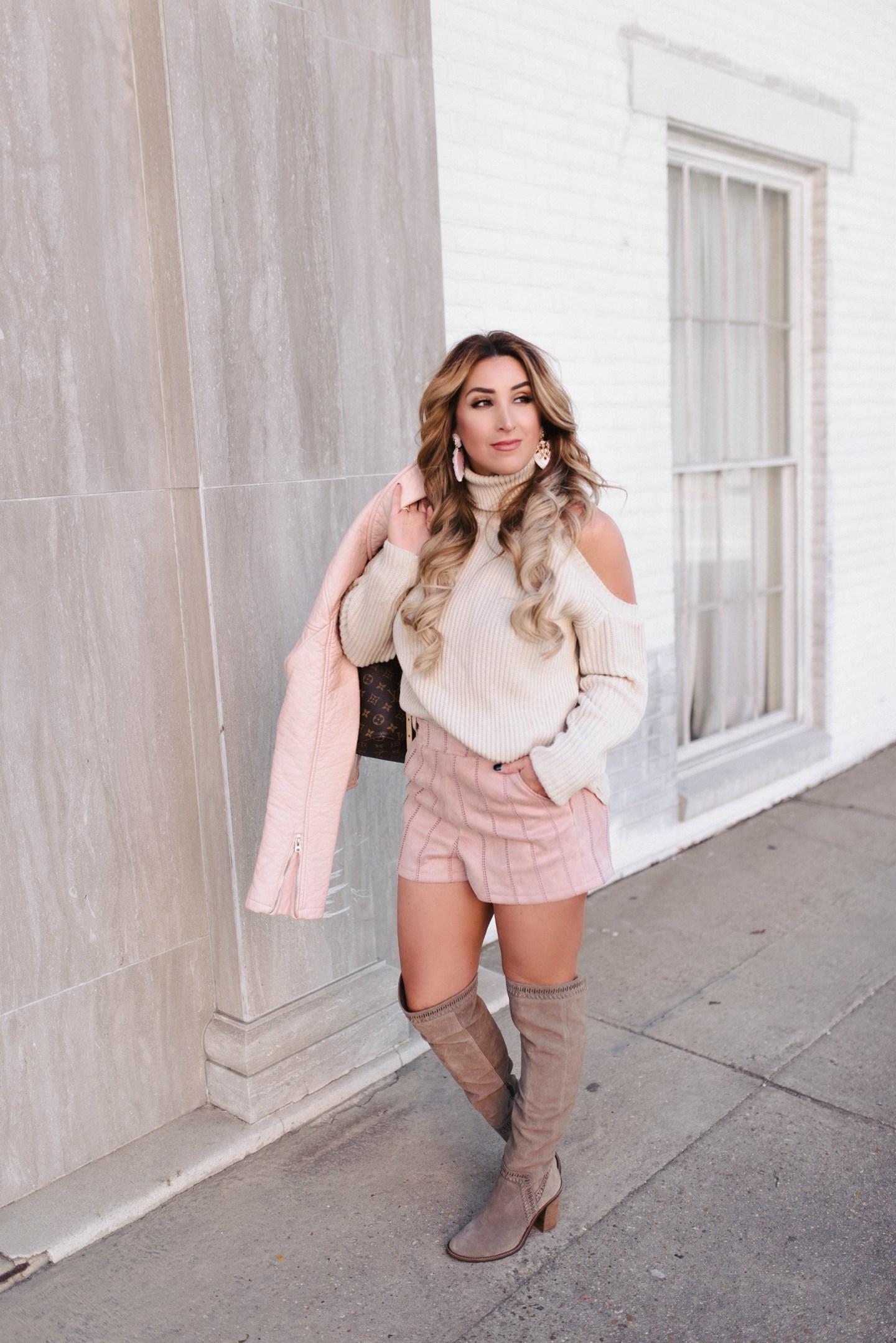 blush suede shorts 7