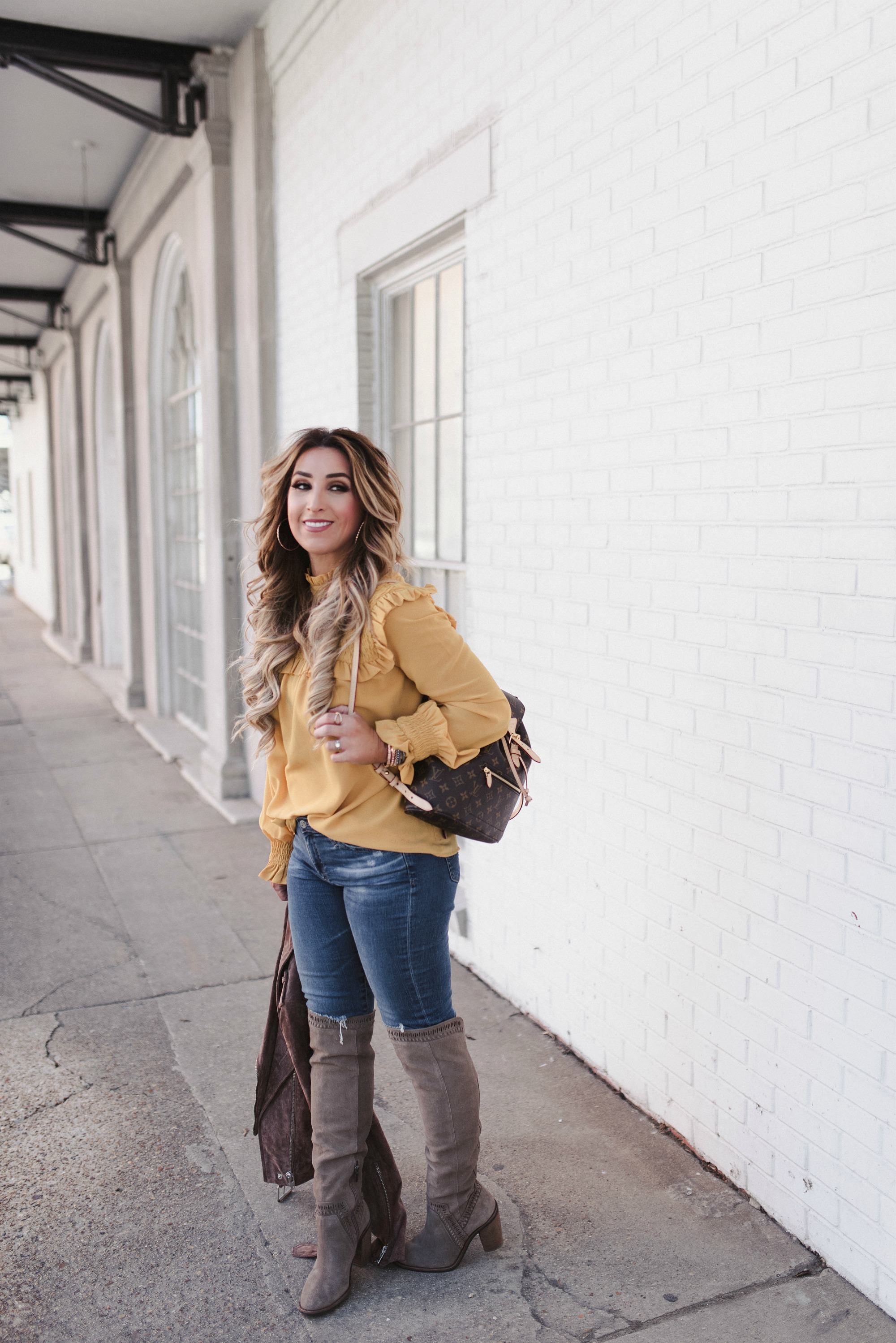 mustard long sleeve blouse