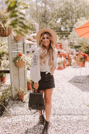 Boho long sleeved blouse and denim skirt on JanuaryHart.com