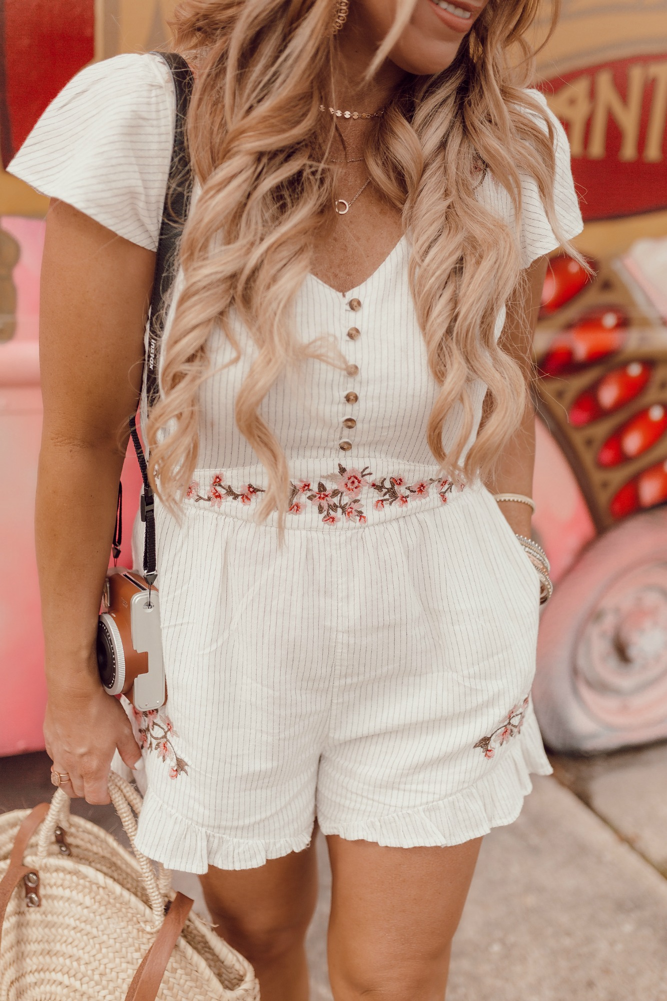 Short sleeve romper with buttons on JanuaryHart.com