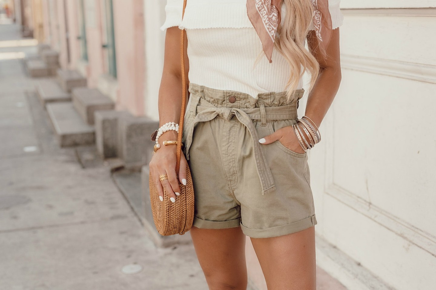 belted olive twill shorts paperbag waist