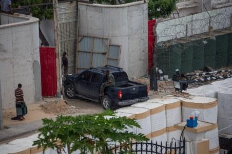 Security precautions near Al Jazaara Palace hotel.