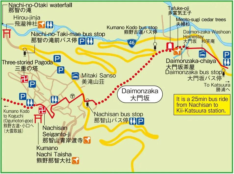 kumano nachi taisha map and bus stop mapp