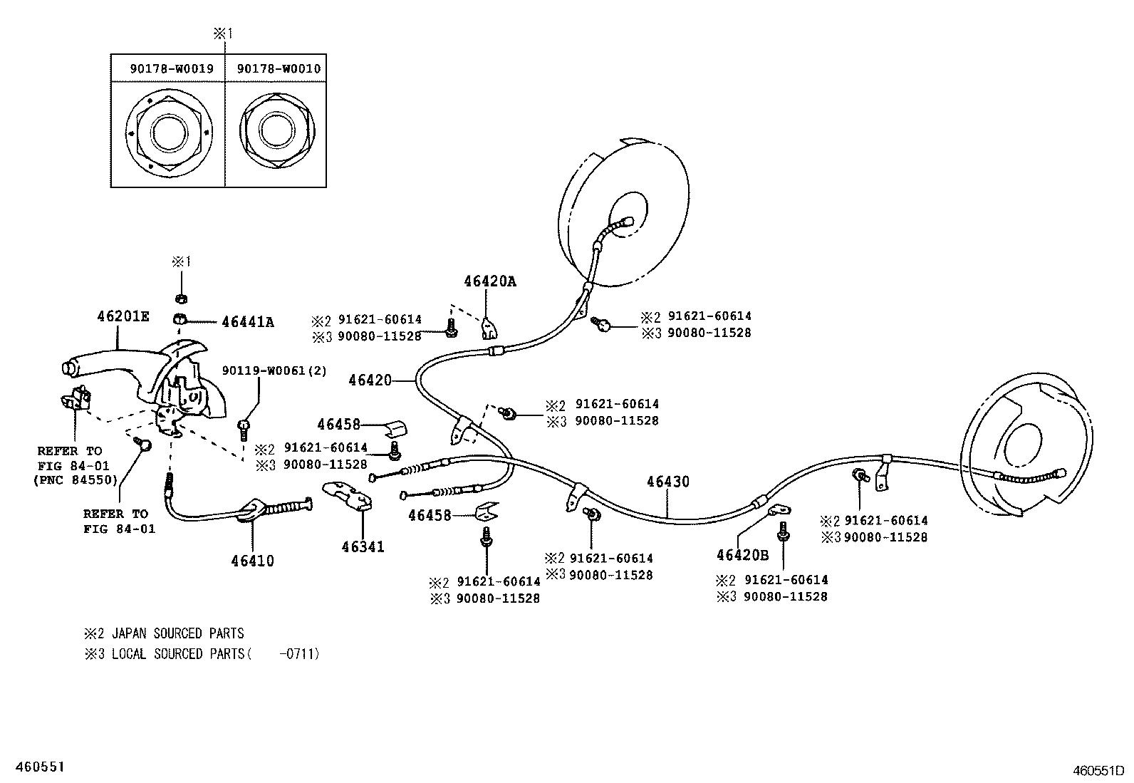 Toyota Tacoma Emergency Brake Cable