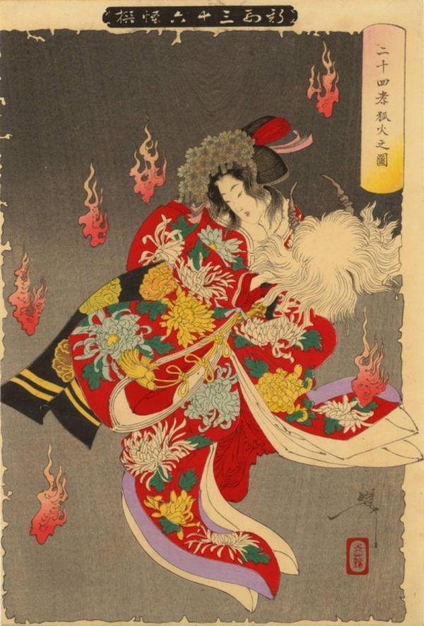 kimono flowers and demons