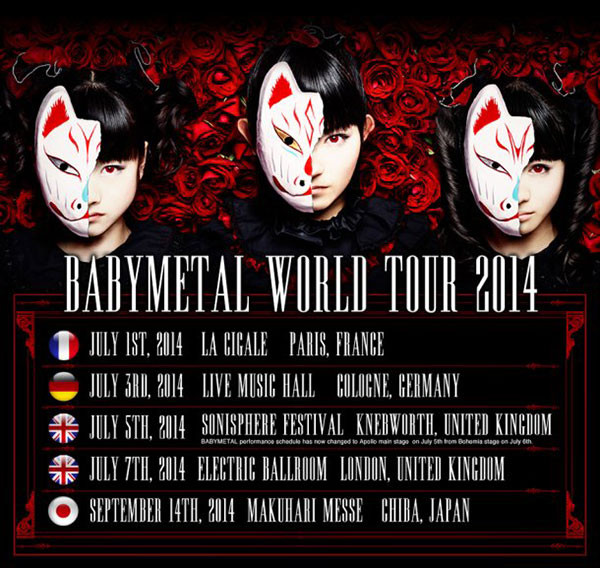 baby metal tour dates