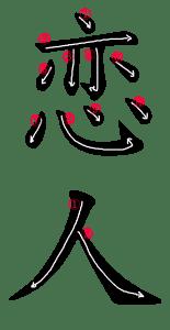 Kanji Stroke Order for 恋人