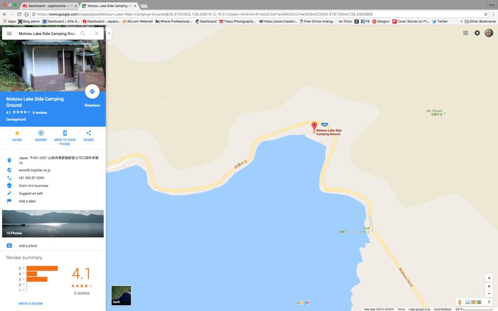 Campsite by Lake Motosu, Japan