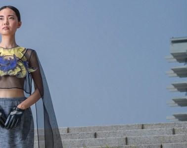 Model Mari wearing mecci at Komazawa Ollympic Park, Tokyo