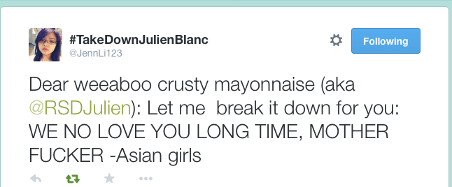 @Jennli123 has launched a campaign to track down and stop Julien Blanc (@RSDJulien) from spreading his toxic message and sexually harassing women.