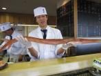 sushi chef showing long fish !