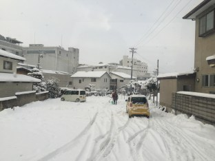 Snow covered Nagano city