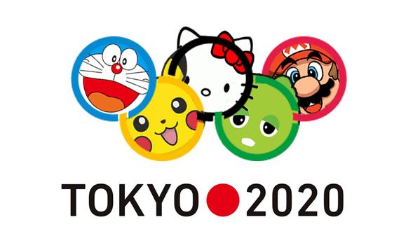 tokyo olympic games 2020 parody logo pokemon mario hello kitty doraemon