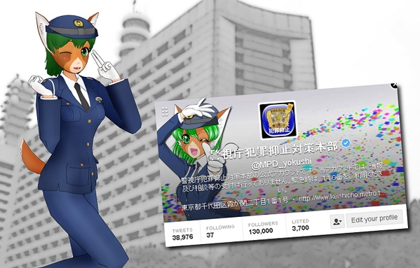 Tewatasanaiinu mascot character kawaii police crime prevention kemono musume japanese
