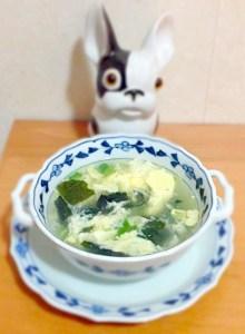 soupe à l'œuf et au wakame