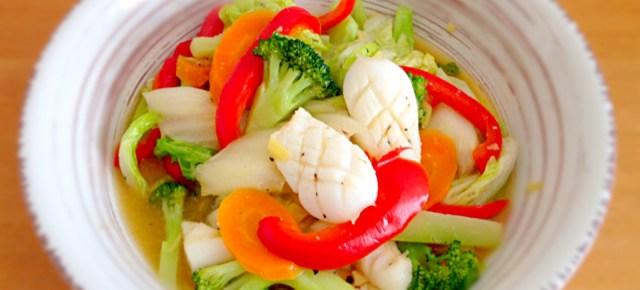 Shioitame de calamar イカと野菜の塩炒め