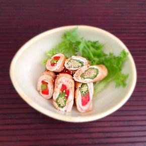 Maki de légumes à la viande sauce teriyaki 野菜の肉巻照り焼きソース