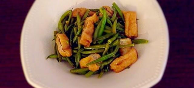 mijoté express de haricots verts et tofu frit サヤインゲンと油揚げのさっと煮