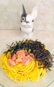 spaghetti à la japonaise au mentaiko shiso et nori