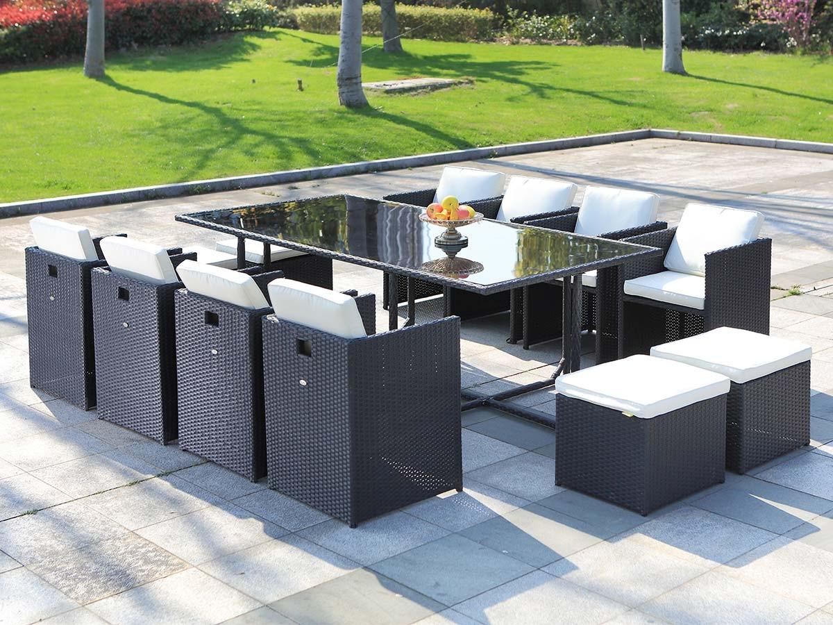 salon de jardin en resine tressee artigas 8 12 places noir jardideco salon seul