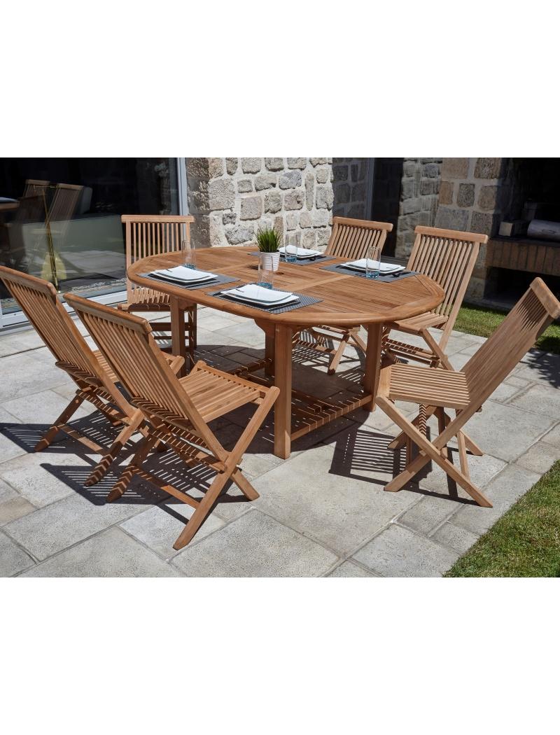 table de jardin cuta en teck 6 chaises