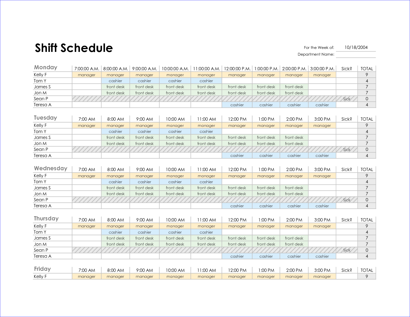 Excel Employee Schedule Template Monthly Printable